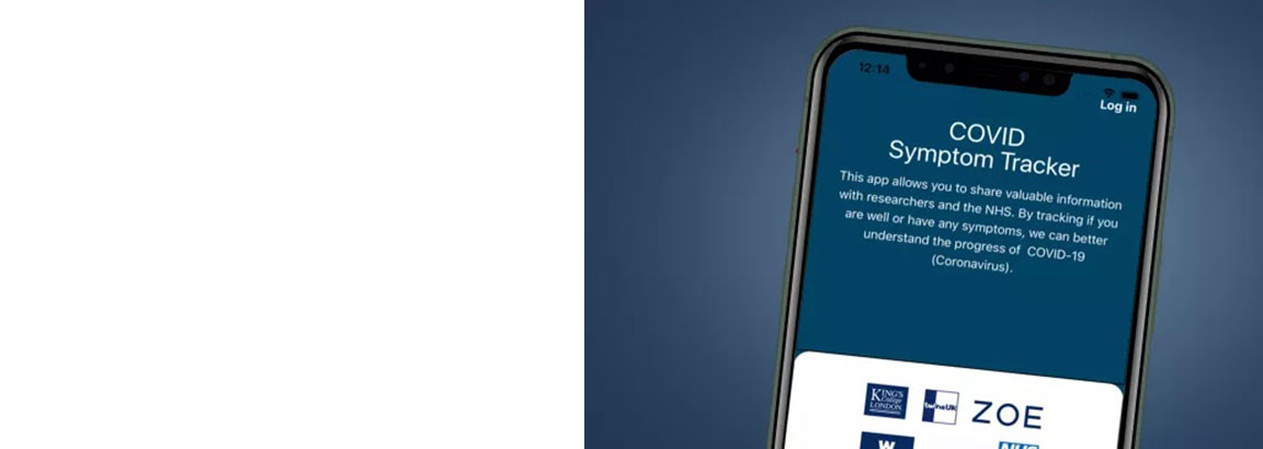 Covid Symptom tracker app showing on a phone